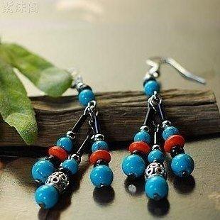 usongs Original simple fashion elegant court personality Tibetan silver turquoise ()