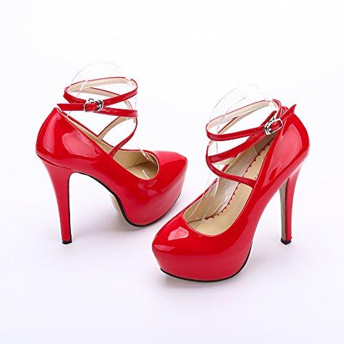 OCHENTA tacon alto Moda PU Rojo Zapatos Nuevo plataforma para 01 con mujer rWrnxTywq