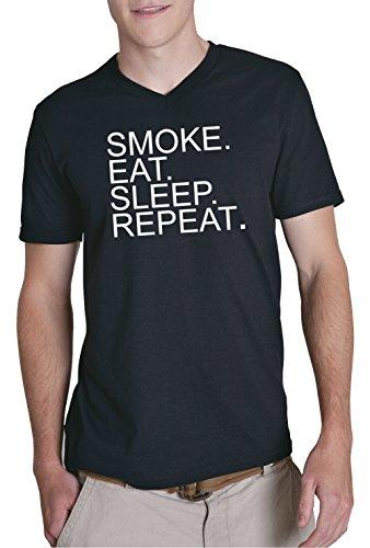Eat Sleep Smoke Repeat V-Neck T-Shirt Nero