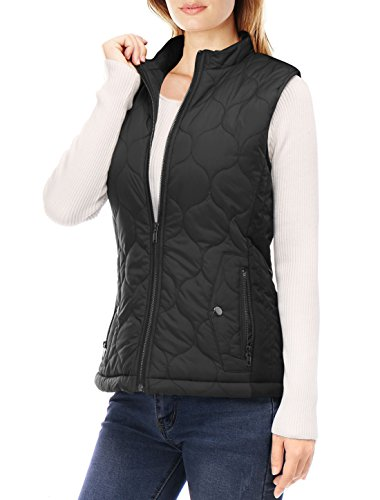 Allegra K Women Stand Collar Side Pockets Zippered Quilted Padded Vest XL Black