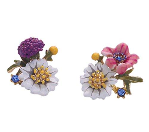 Dot & Line enamel flower leaf plant romantic France style stud earrings