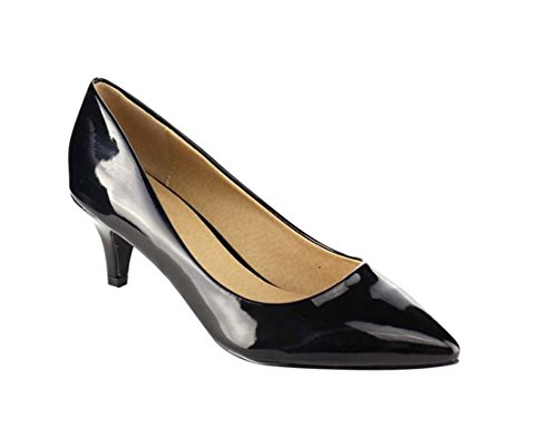 Coshare Women's Fashion Patent Embellished Front Low Heel Pumps, Black, 9 M US Black Leather Classic Pumps