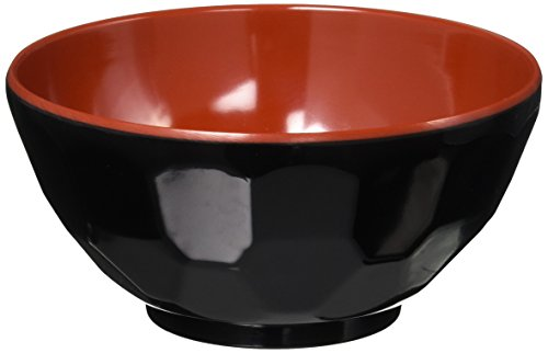 JapanBargain Brand Black/Red Melamine Miso Soup Rice Bowl 4.75-inch