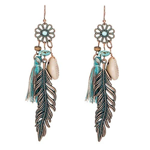 Myhouse Vintage Fringed Flowers Leaves Shell Pendant Earrings for Women Girls Charm Accessories