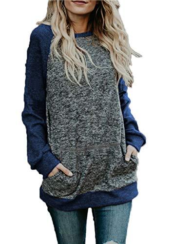 (BLUETIME Women's Winter Fall Raglan Long Sleeve Flowy Tunic Tops Shirt Casual Blouses (S, Navy Blue))