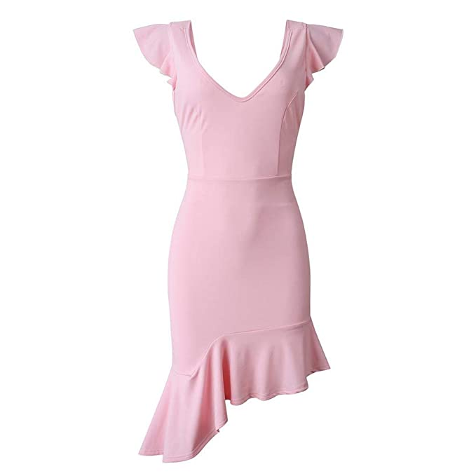 9e329582323a zhangwei Women s Deep V Neck Ruffle Slim Fit Bodycon Dress Cocktail Party  Pencil Dress Elegant Work Dress Pink at Amazon Women s Clothing store