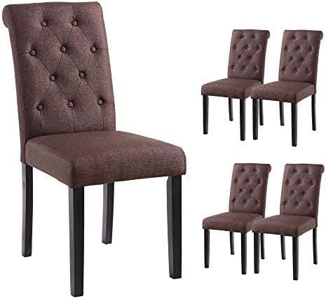 YEEFY Habit Solid Wood Tufted Parsons Dining Chair Set of 4 Dark Brown