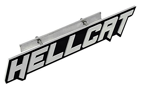 ERPART Silver on Black Highly Polished Aluminum Hellcat Hell Cat Grille Grill Plaque Emblem Badge Nameplate Logo Decal Rare Compatible with Dodge Challenger Charger Jeep Chrysler (Mounts 4 Motor Srt)