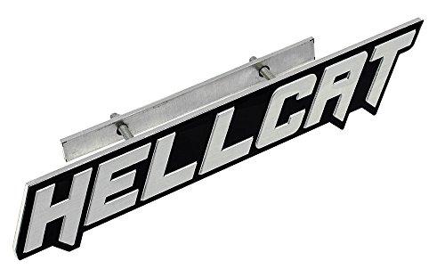 SILVER on BLACK Highly Polished Aluminum HELLCAT Hell Cat GRILLE Grill Plaque Emblem Badge Nameplate Logo Decal Rare for Dodge Challenger Charger 707 hp Horsepower 6.2L Supercharged HEMI V8 SRT SRT8 -  ERPART, 100-ERPEMB439SLEMB439G
