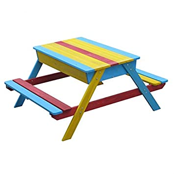Astonishing Childrens Wooden Picnic Bench Sandpit Multicoloured Pabps2019 Chair Design Images Pabps2019Com