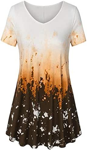 LUXISDE Womens Tops Womens Tops Short Sleeve Womens V Neck Short Sleeve A Line Curved Hem Tie Dye Business Tunic Blouse