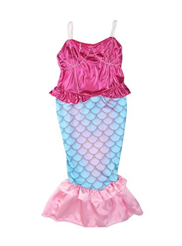 [Rush Dance Princess Ariel The Little Mermaid Dress Costume Cosplay Swimwear (4T, My Little Mermaid - Pink Top & Blue] (Ariel Blue Dress Costumes)