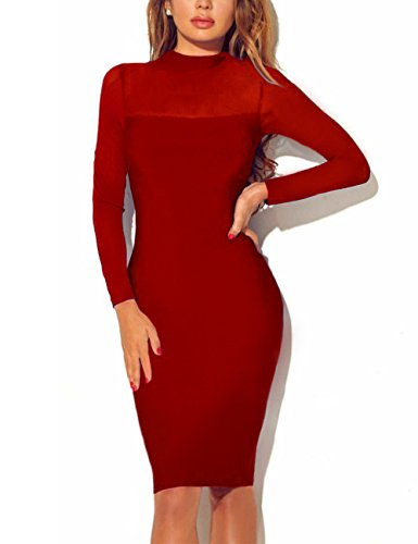 Queen.M Women's Bodycon Dress Long Sleeve Sexy Mesh Splicing Pencil Midi Evening Party Dress Clubwear Red Small -