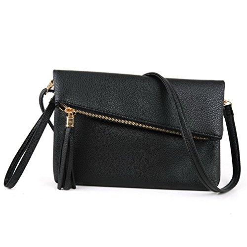 Bag for 180093 Girls Purse Leather Black Shoulder Fashion Clutch LIZHIGU Women's Crossbody Bag Zipper Teen qZtwvvpU