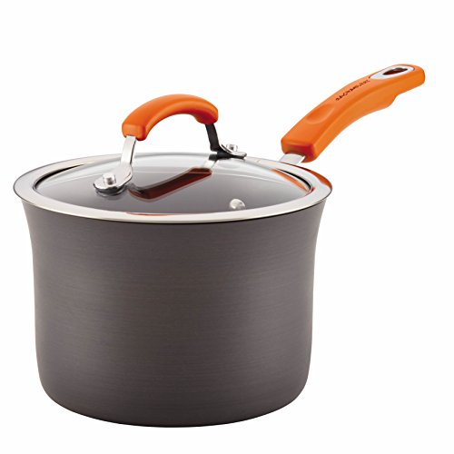Rachael Ray Hard Anodized Aluminum Nonstick 3-Quart Covered Saucepan, Gray with Orange Handle