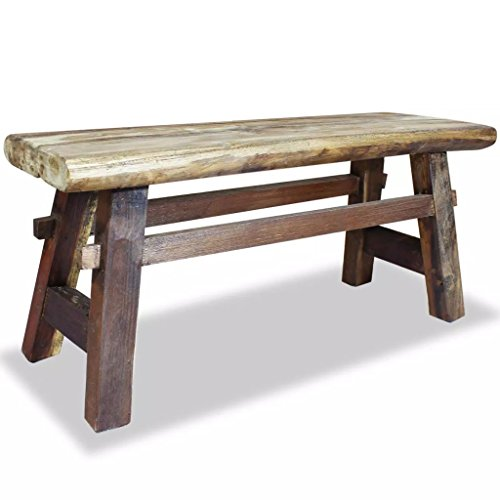 Festnight Vintage Wood Dining Bench, Antique Handmade Garden Dining Bench Furniture Solid Reclaimed Wood by Festnight (Image #4)