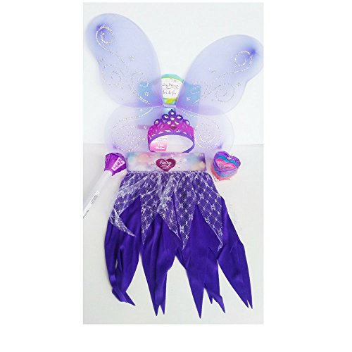 [Girls Dress Up Purple Passion Costume Includes: Tutu Skirt, Tiara, Wand & Bangles (fringe)] (Tinker Bell Child Tiara)
