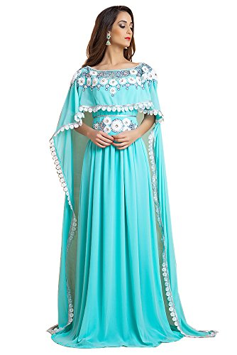 Kolkozy Fashion Georgette Hand beaded Designer Kaftan Blue Size 2X by Kolkozy Fashion