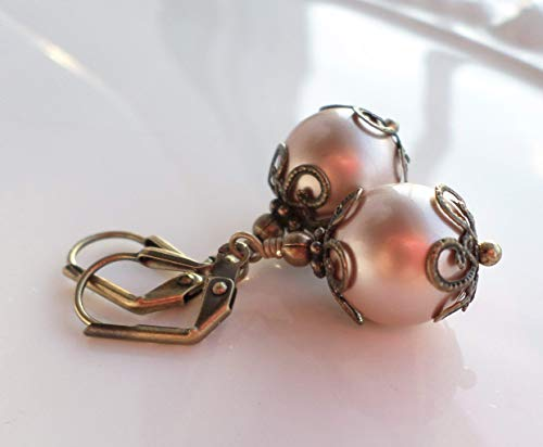 Powder Almond Swarovski Pearl Victorian Brass Filigree Earrings
