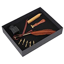 WEONE Vintage Brown Turkey Feather Quill Pen 5 Nibs With Ink Bottle and Wax seal and Round Seal Stationery Gift