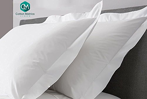 Cotton Metrics Linen Present Hotel Quality 100% Egyptian Cotton 600 Thread Count 2pc Pillow Case Standard (20'' x 26'') Size White Solid by Cotton Metrics Linen