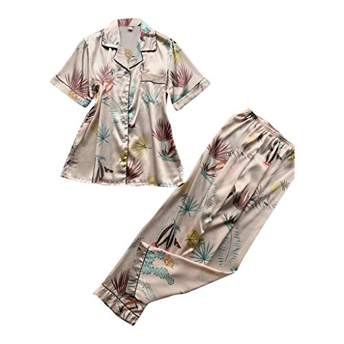 Dreamyth-sets 2PC Women Simulation Silk Print Pajamas Sleepwear Long Trousers Nightwear Set (Pink, ()