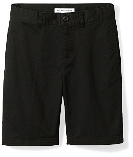 Amazon Essentials Boys' Flat Front Uniform Chino Short, Black,8