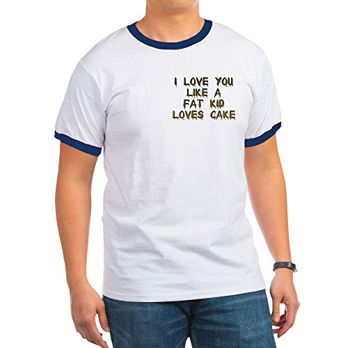 CafePress I Love You Like A Fat Kid Loves Cake Ringer T-Shirt, 100% Cotton Ringed T-Shirt, Vintage Shirt Navy/White