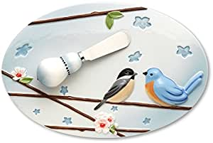 Peace, Love and Birds by Pavilion 9 by 6-Inch Cheese Platter with 4-1/2-Inch Spreader