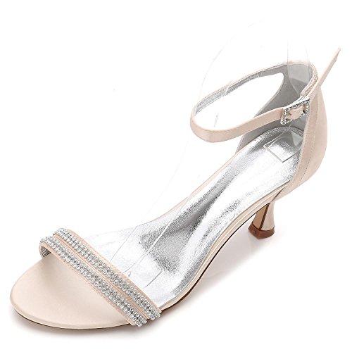 L@YC Women's Wedding Shoes F17061-61 Comfort Rhinestone Basic Pump Satin Platform Wedding Shoes Custom Champagne