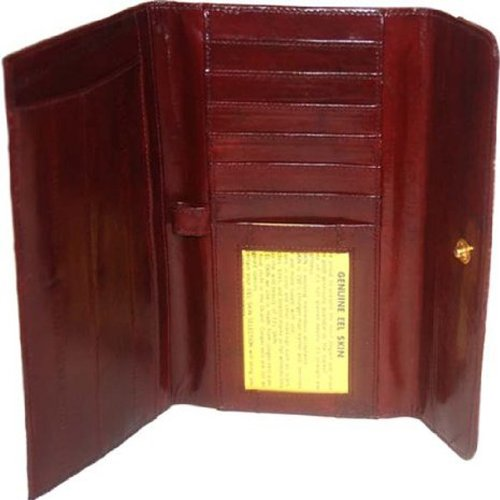 New Soft EEL Skin Leather Checkbook Wallet W/Snap Closure #E2575