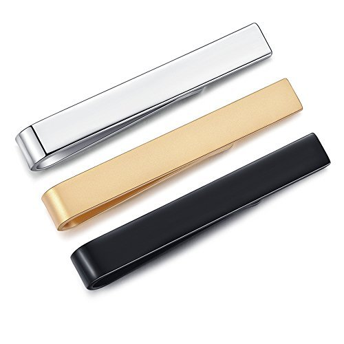 3/6pcs Honey Bear Mens/Boys Skinny Tie clip Set Tie Bar for Narrow Tie - Slim Stainless Steel For Business Wedding Gift ,4.0cm (3pcs set without box)