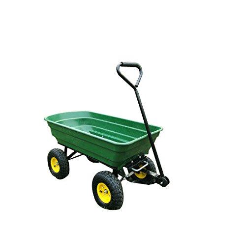 Homcom 75 Litre Garden Cart Heavy Duty 4 Wheel Trolley Dump Wheelbarrow Tipper Trailer - Green MHSTAR UK 5662-0363