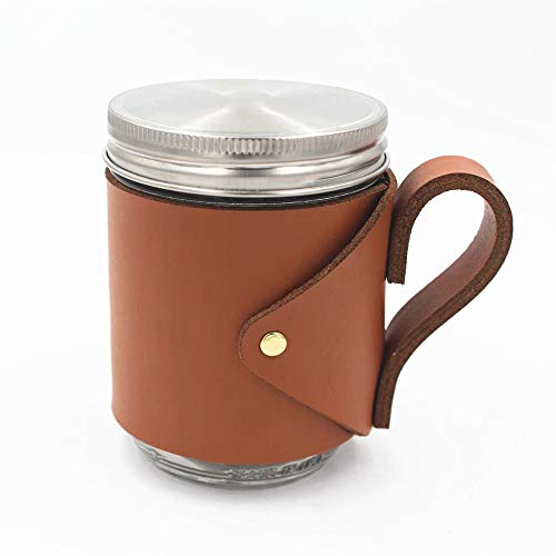 16oz Wide Mouth Mason Jar Full Grain Leather Holder, Brown Travel Mug for Wide Mouth Pint Mason, Removable Leather Sleeve with Handle, Camp Mug