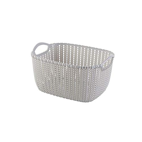 Asteria-Ashley Rattan Storage Baskets Plastic Dirty Clothes Baskets Underwear Storage Boxes Dormitory Storage Boxes Jewelry Household Items,Gray,L -