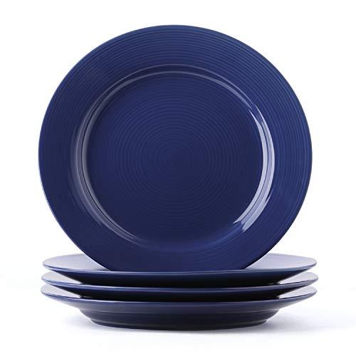ner Plate Set - 10 Inch for Breakfast, Dinner, Set of 4, True Blue ()