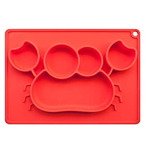 Food Grade Kids Silicone Placemat Car Dinnerware Table Mat Waterproof Baby Placemat Portable Food Mat Travel Placemat for Toddler by KASOS (Carmine Crab)