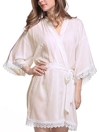 Feoya - Bata Kimono con Cinturón Encaje para Mujer Albornoz Color Puro Larga Ropa de Dormir Caqui