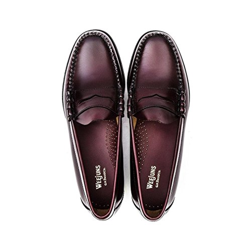 Bass Larson Mens Leather Loafers Wine - 46 EU