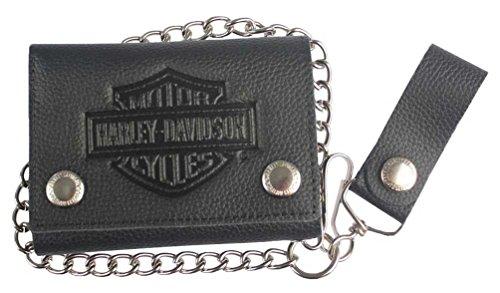 Harley-Davidson Men's Embossed B&S Logo Medium Trucker Wallet, Black XML3517-BLK (Mens Harley Davidson Wallets)