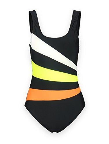 ReliBeauty Women's Lined U-Neck One Piece Bathing Suit Swimsuits (XXXX-Large, Black)