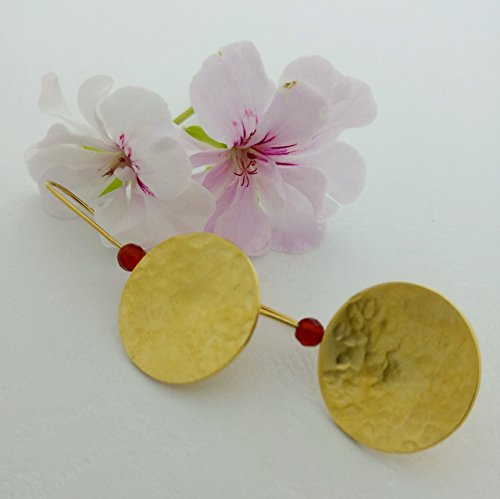 Gold disc hammered earrings 18k gold plated with a red bead