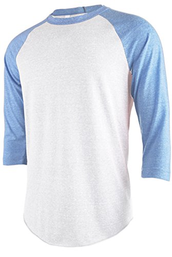 Base Raglan T-shirt (TL Men's Basic 3/4 Sleeve Baseball Top Fitted Tri-blend Raglan T-Shirt WHITE_BLUE S)
