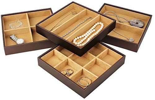 Mantello Stackable Jewelry Organizer Trays for Jewelry Showcase Display & Jewelry Storage Holder Earrings, Bracelets, Necklaces & Rings (Set of 4)