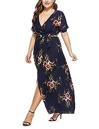 Preferhouse - Vestido largo para mujer, talla grande, diseño floral