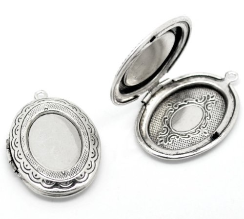 Picture Frame Locket - Quantity 5 - Silver Tone Oval Photo Frame Locket Pendant - 18x13mm Cabochon Setting - Total Size 34x24mm