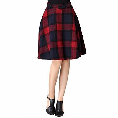 Vintage Empire Waist Belted A-Line Flared Skater Checks Plaid Knees Length Skirt
