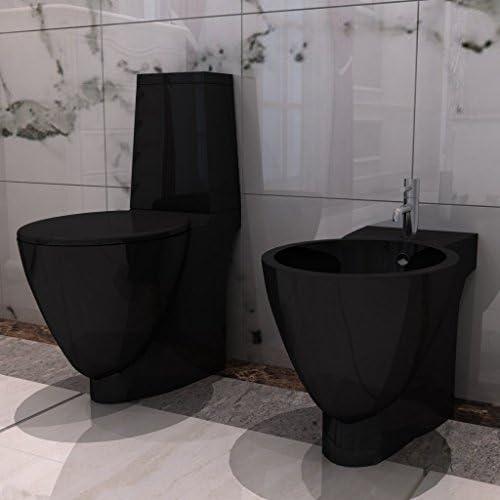 Anself Stand-WC Toilette + Bidet Set aus Keramik Bodenstehend Schwarz