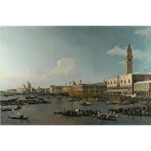 high quality polyster Canvas ,the High Definition Art Decorative Prints on Canvas of oil painting 'Canaletto - Venice - The Basin of San Marco on Ascension Day,about 1740', 16x24 inch / 41x62 cm is best for Bedroom decoration and Home decor and Gifts