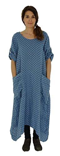 Mein Design Lagenlook de Mallorca Damen Kleid HZ400 Tunika Punkte Blau fXbDtY